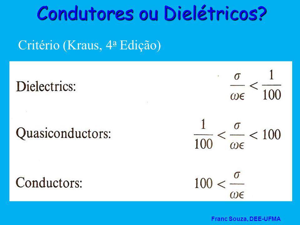 Franc Souza, DEE-UFMA Condutores ou Dielétricos? Critério (Kraus, 4 a Edição)