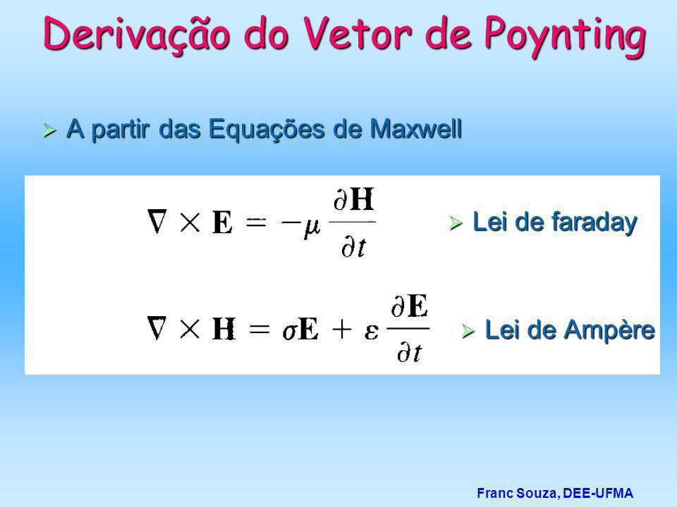 Derivação do Vetor de Poynting  A partir das Equações de Maxwell Franc Souza, DEE-UFMA  Lei de Ampère  Lei de faraday