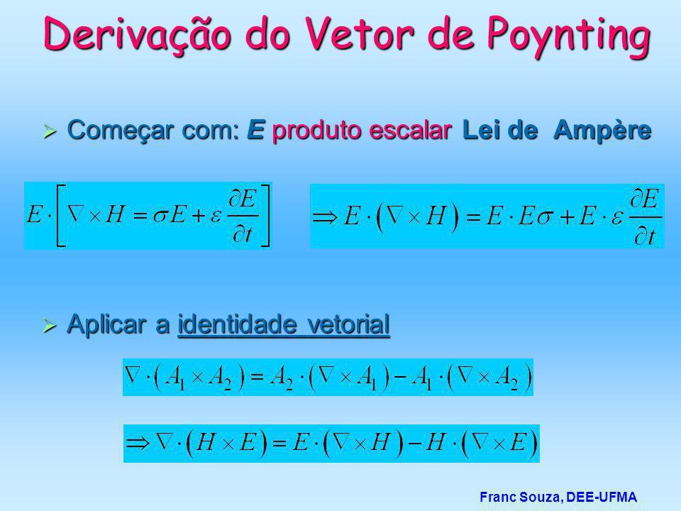 Derivação do Vetor de Poynting  Começar com: E produto escalar Lei de Ampère Franc Souza, DEE-UFMA  Aplicar a identidade vetorial