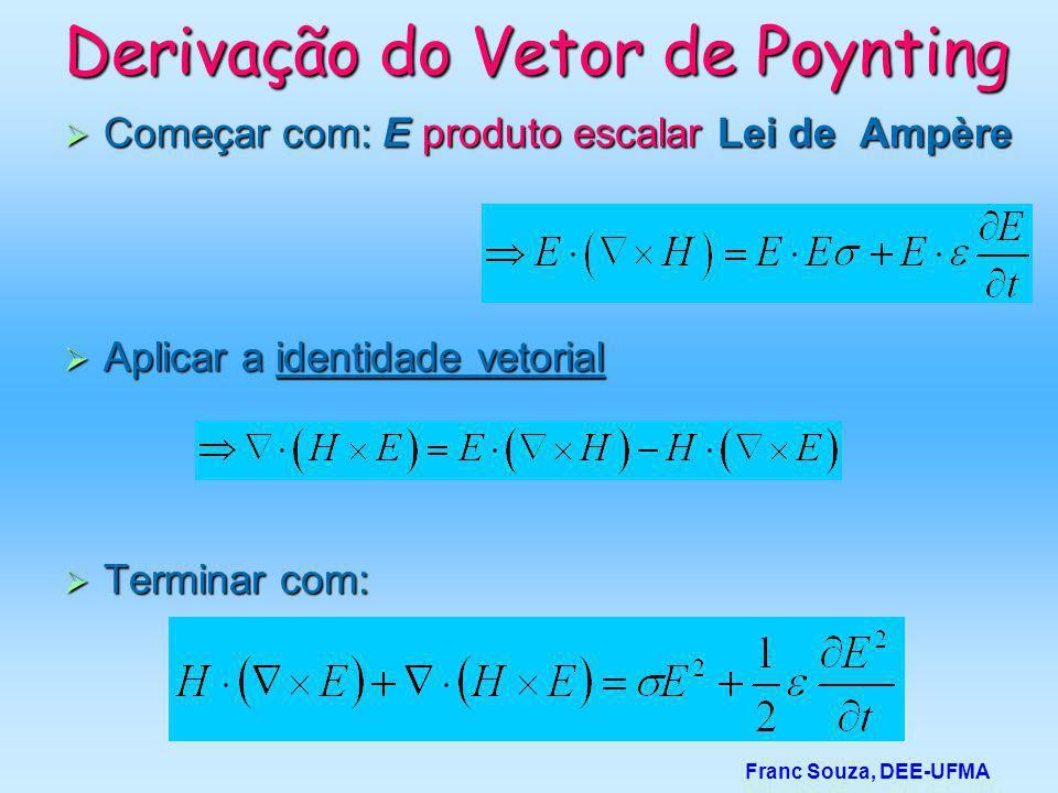 Derivação do Vetor de Poynting  Começar com: E produto escalar Lei de Ampère Franc Souza, DEE-UFMA  Aplicar a identidade vetorial  Terminar com: