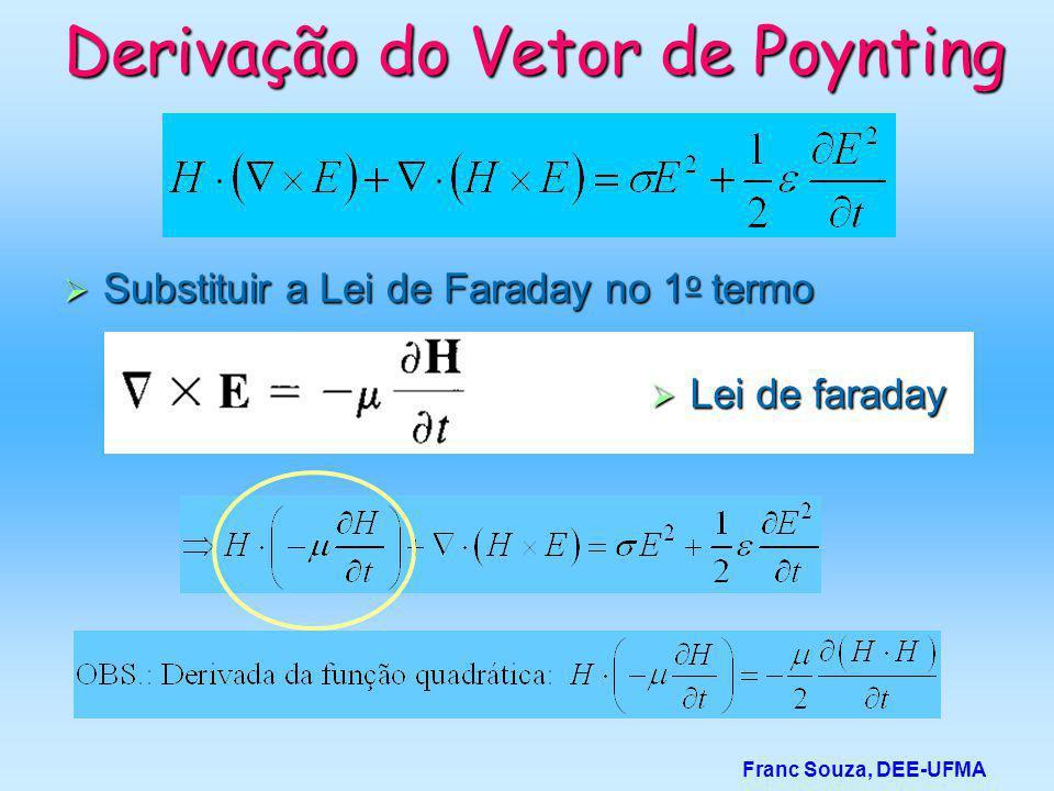  Substituir a Lei de Faraday no 1 o termo Franc Souza, DEE-UFMA Derivação do Vetor de Poynting  Lei de faraday