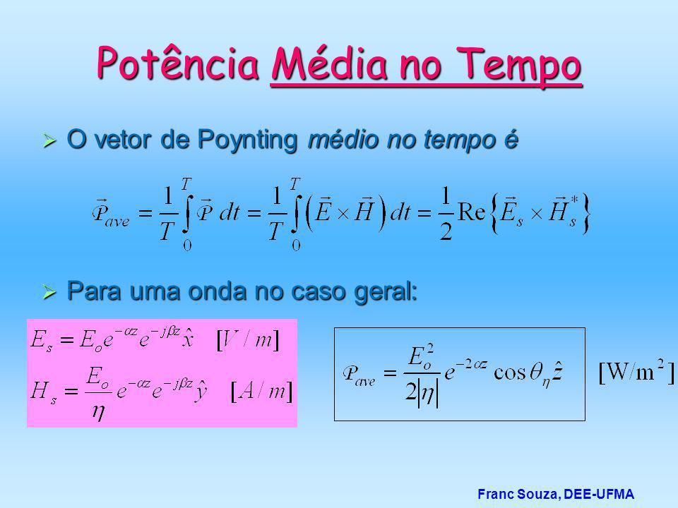 Potência Média no Tempo  O vetor de Poynting médio no tempo é  Para uma onda no caso geral: Franc Souza, DEE-UFMA