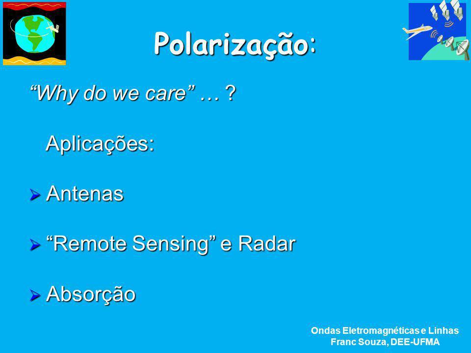 """Polarização: """"Why do we care"""" … ? Aplicações:  Antenas  """"Remote  """"Remote Sensing"""" e Radar  Absorção Ondas Eletromagnéticas e Linhas Franc Souza, D"""