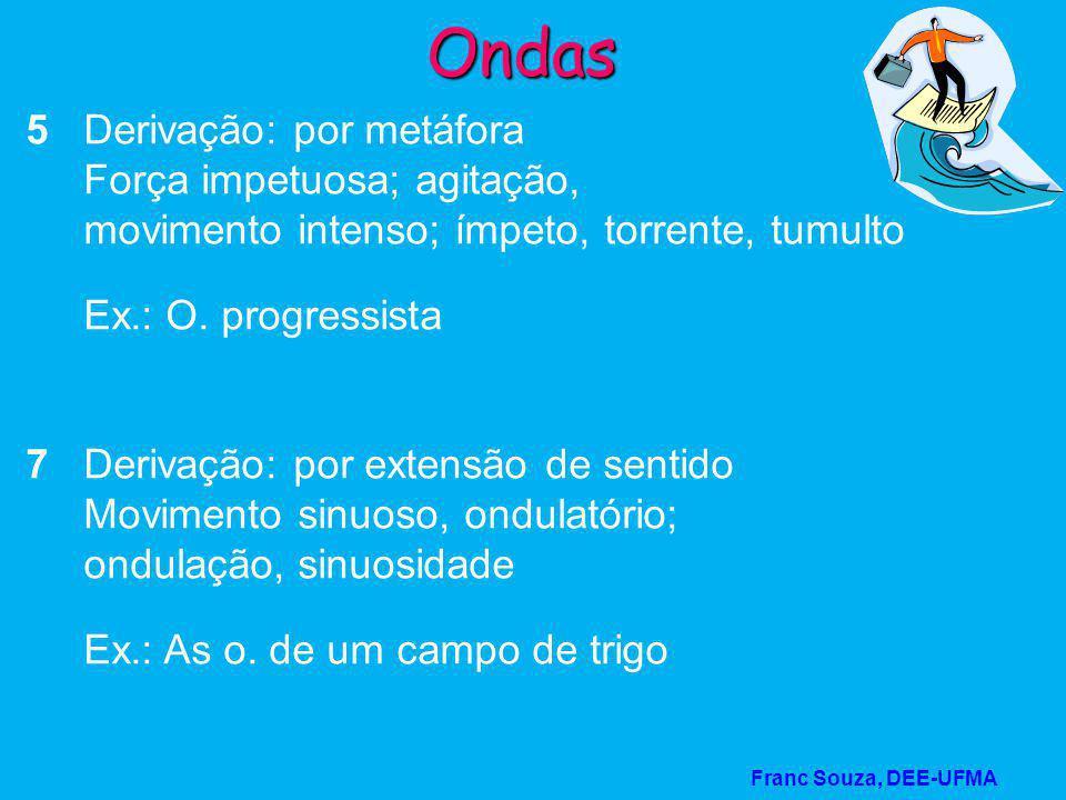 Franc Souza, DEE-UFMA Ondas 8 Derivação: por metáfora Sensação que, após atingir um ponto alto, se dissipa Ex.: uma febre acompanhada de ondas de calor e frio 9 Derivação: por metáfora.
