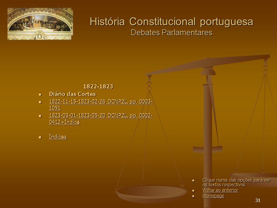 31 História Constitucional portuguesa Debates Parlamentares 1822-1823 Diário das Cortes Diário das Cortes 1822-11-15-1823-02-26 DCNP2L, pp.