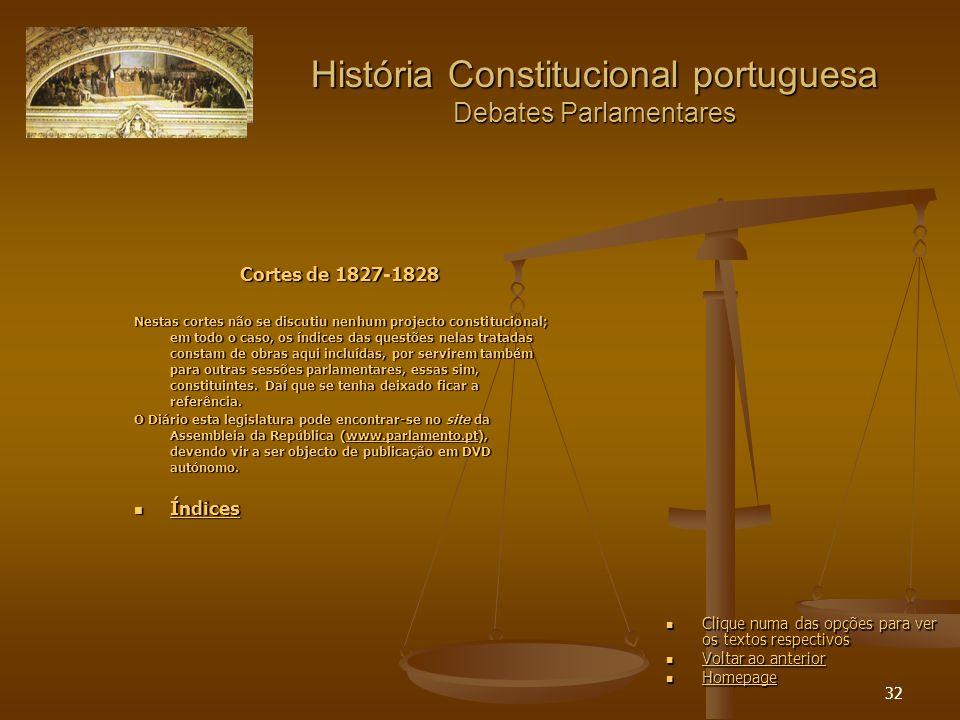 32 História Constitucional portuguesa Debates Parlamentares Cortes de 1827-1828 Nestas cortes não se discutiu nenhum projecto constitucional; em todo o caso, os índices das questões nelas tratadas constam de obras aqui incluídas, por servirem também para outras sessões parlamentares, essas sim, constituintes.