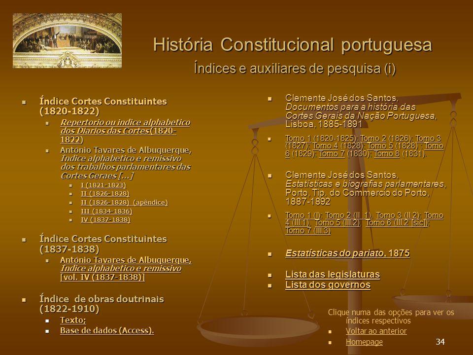 34 Índice Cortes Constituintes (1820-1822) Índice Cortes Constituintes (1820-1822) Repertorio ou indice alphabetico dos Diarios das Cortes (1820- 1822