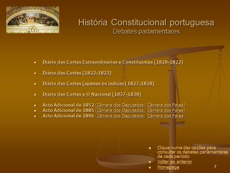 28 História Constitucional portuguesa Cartismo Constituição política do Império do Brasil de 1824 Constituição política do Império do Brasil de 1824 Constituição política do Império do Brasil de 1824 Constituição política do Império do Brasil de 1824 Constituição do Império do Brasil, emendado por D.