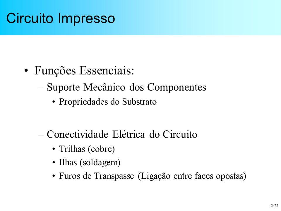 2/78 Circuito Impresso Funções Essenciais: –Suporte Mecânico dos Componentes Propriedades do Substrato –Conectividade Elétrica do Circuito Trilhas (co