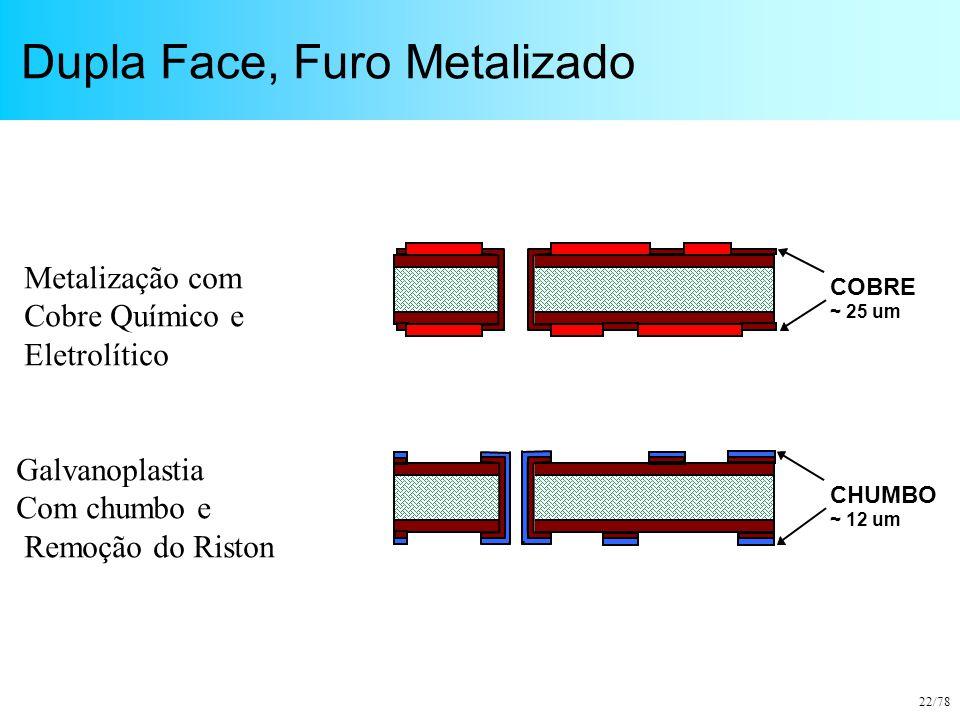 22/78 Dupla Face, Furo Metalizado COBRE ~ 25 um CHUMBO ~ 12 um Metalização com Cobre Químico e Eletrolítico Galvanoplastia Com chumbo e Remoção do Ris