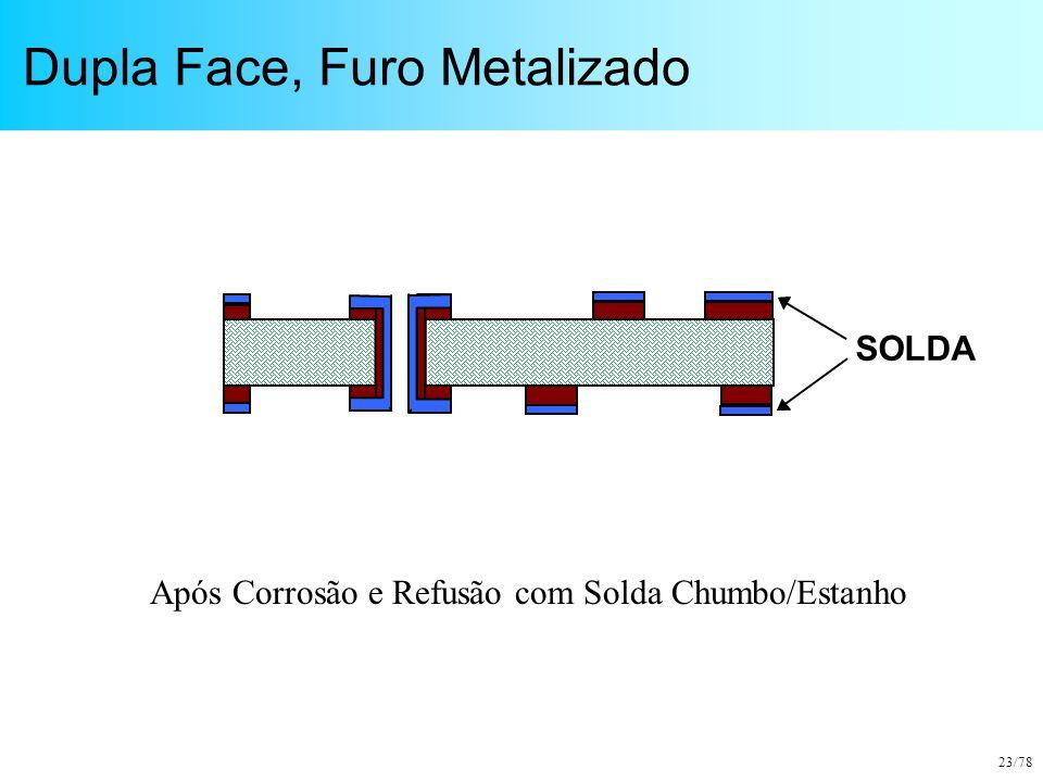 23/78 Dupla Face, Furo Metalizado SOLDA Após Corrosão e Refusão com Solda Chumbo/Estanho
