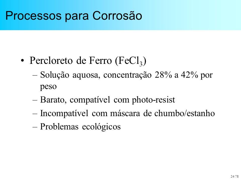 24/78 Processos para Corrosão Percloreto de Ferro (FeCl 3 ) –Solução aquosa, concentração 28% a 42% por peso –Barato, compatível com photo-resist –Inc