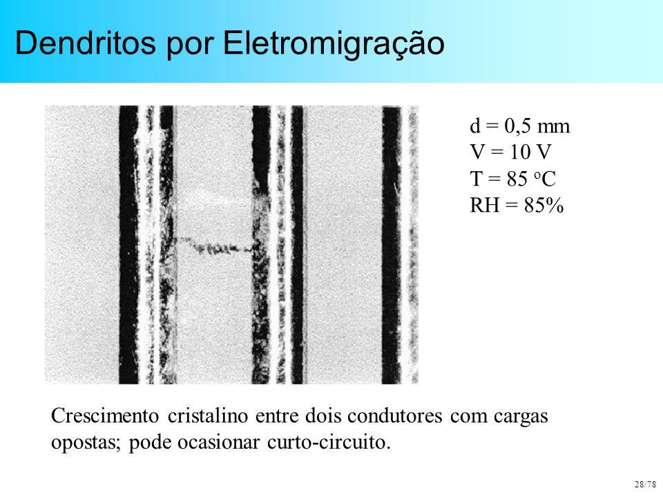 28/78 Dendritos por Eletromigração Crescimento cristalino entre dois condutores com cargas opostas; pode ocasionar curto-circuito. d = 0,5 mm V = 10 V
