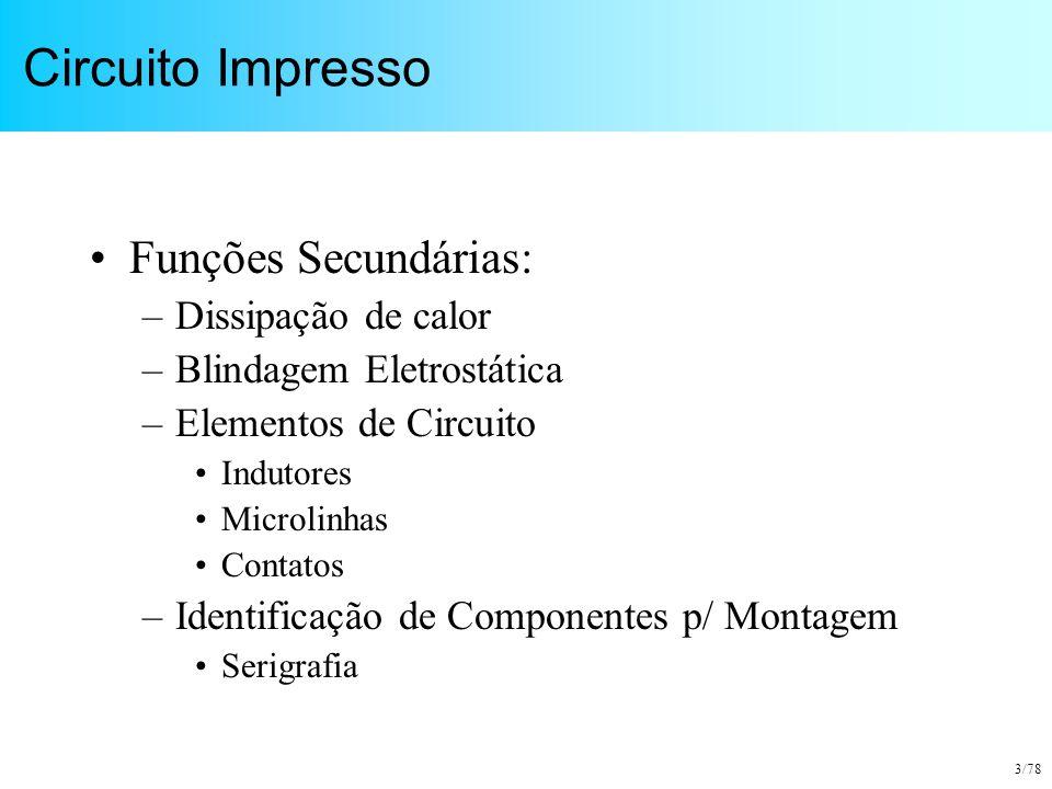 3/78 Circuito Impresso Funções Secundárias: –Dissipação de calor –Blindagem Eletrostática –Elementos de Circuito Indutores Microlinhas Contatos –Ident