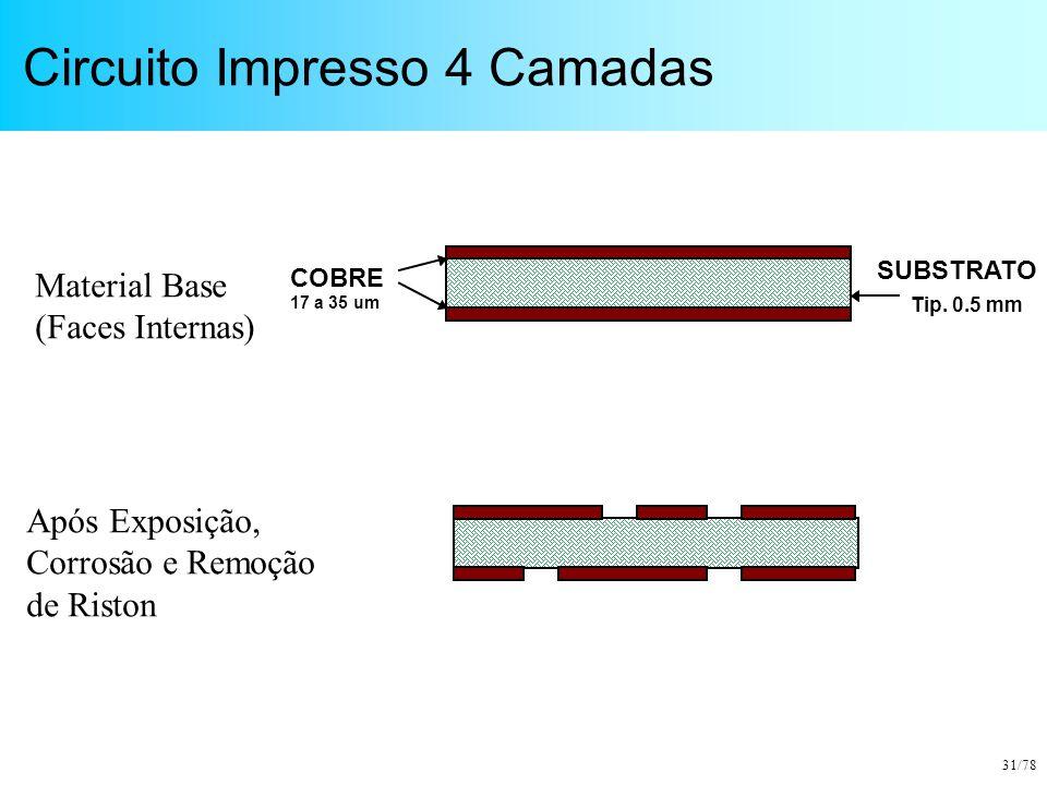 31/78 Circuito Impresso 4 Camadas COBRE 17 a 35 um SUBSTRATO Tip. 0.5 mm Material Base (Faces Internas) Após Exposição, Corrosão e Remoção de Riston