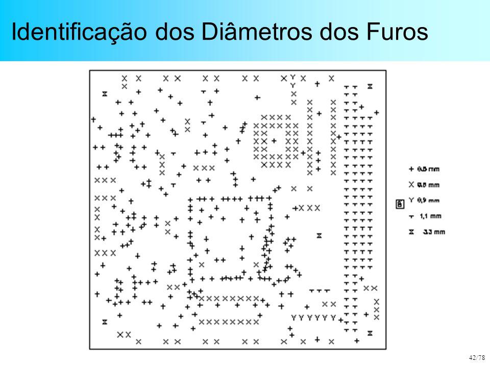 42/78 Identificação dos Diâmetros dos Furos