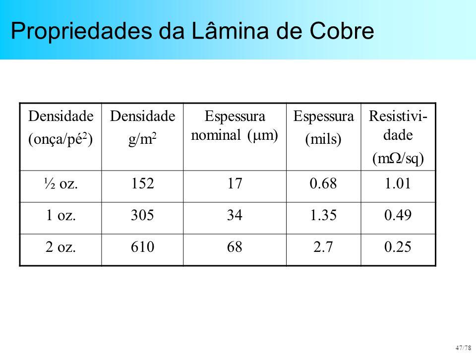 47/78 Propriedades da Lâmina de Cobre Densidade (onça/pé 2 ) Densidade g/m 2 Espessura nominal (  m) Espessura (mils) Resistivi- dade (m  /sq) ½ oz.