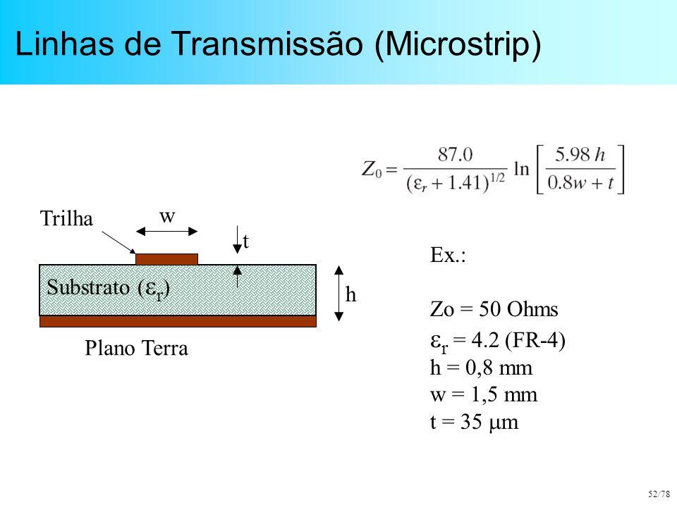 52/78 Linhas de Transmissão (Microstrip) Substrato (  r ) Plano Terra w t h Trilha Ex.: Zo = 50 Ohms  r = 4.2 (FR-4) h = 0,8 mm w = 1,5 mm t = 35 