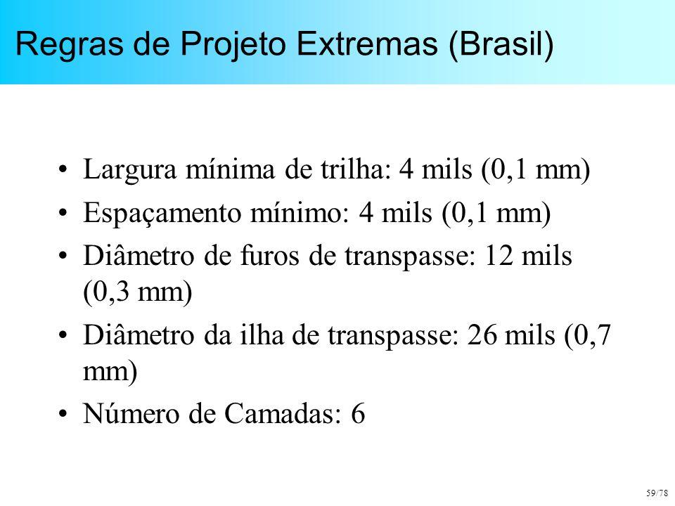 59/78 Regras de Projeto Extremas (Brasil) Largura mínima de trilha: 4 mils (0,1 mm) Espaçamento mínimo: 4 mils (0,1 mm) Diâmetro de furos de transpass