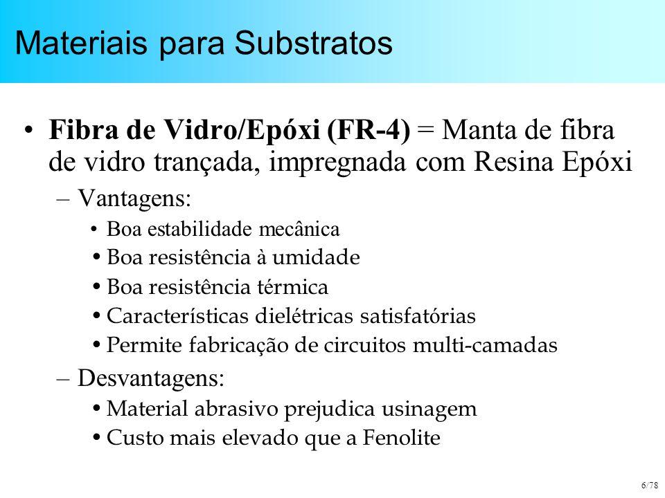 6/78 Materiais para Substratos Fibra de Vidro/Epóxi (FR-4) = Manta de fibra de vidro trançada, impregnada com Resina Epóxi –Vantagens: Boa estabilidad