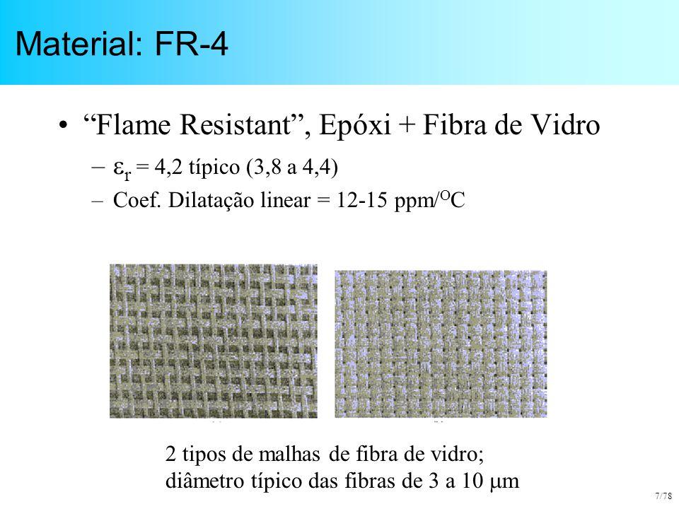 """7/78 Material: FR-4 """"Flame Resistant"""", Epóxi + Fibra de Vidro –  r = 4,2 típico (3,8 a 4,4) –Coef. Dilatação linear = 12-15 ppm/ O C 2 tipos de malha"""