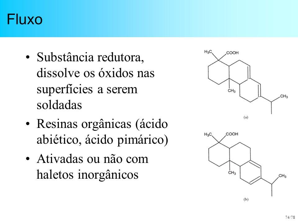 74/78 Fluxo Substância redutora, dissolve os óxidos nas superfícies a serem soldadas Resinas orgânicas (ácido abiético, ácido pimárico) Ativadas ou nã