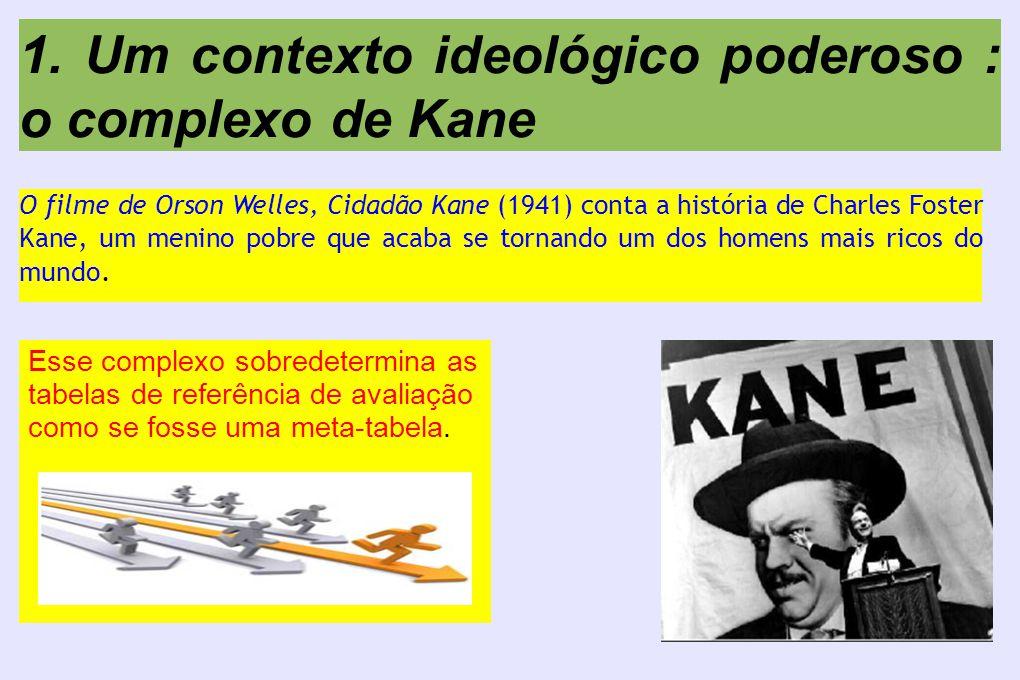 1. Um contexto ideológico poderoso : o complexo de Kane O filme de Orson Welles, Cidadão Kane (1941) conta a história de Charles Foster Kane, um menin