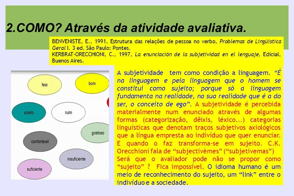 2.COMO. Através da atividade avaliativa. A subjetividade tem como condição a linguagem.