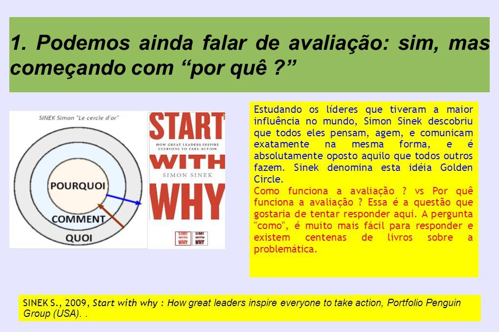 """1. Podemos ainda falar de avaliação: sim, mas começando com """"por quê ?"""" SINEK S., 2009, Start with why : Ho w great leaders inspire everyone to take a"""
