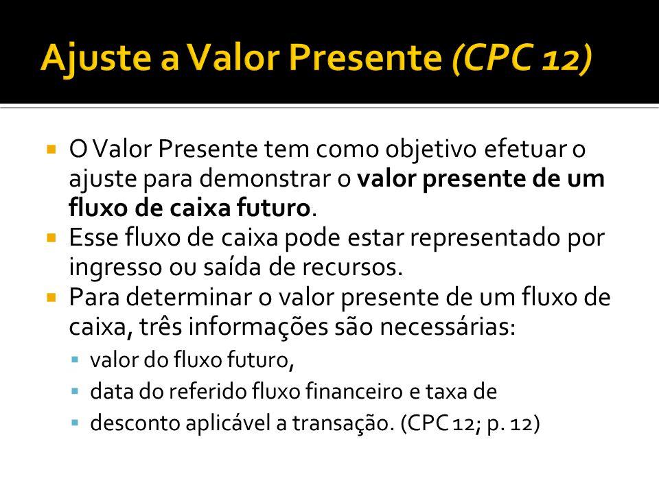  O Valor Presente tem como objetivo efetuar o ajuste para demonstrar o valor presente de um fluxo de caixa futuro.  Esse fluxo de caixa pode estar r