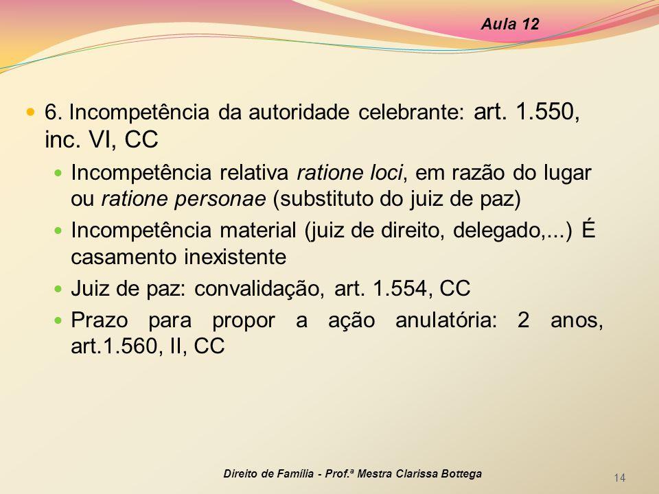 6. Incompetência da autoridade celebrante: art. 1.550, inc. VI, CC Incompetência relativa ratione loci, em razão do lugar ou ratione personae (substit