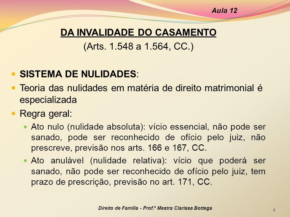 DA INVALIDADE DO CASAMENTO (Arts. 1.548 a 1.564, CC.) SISTEMA DE NULIDADES: Teoria das nulidades em matéria de direito matrimonial é especializada Reg