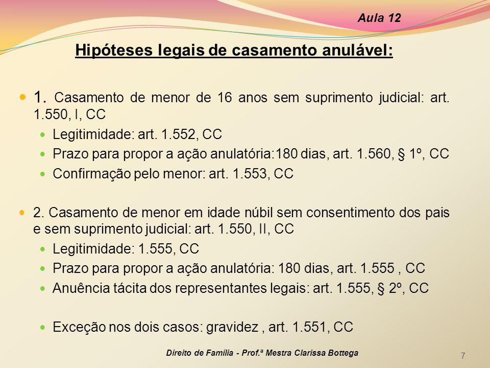 Hipóteses legais de casamento anulável: 1. Casamento de menor de 16 anos sem suprimento judicial: art. 1.550, I, CC Legitimidade: art. 1.552, CC Prazo
