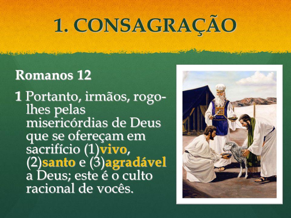 1. CONSAGRAÇÃO Romanos 12 1 Portanto, irmãos, rogo- lhes pelas misericórdias de Deus que se ofereçam em sacrifício (1) vivo, (2) santo e (3) agradável