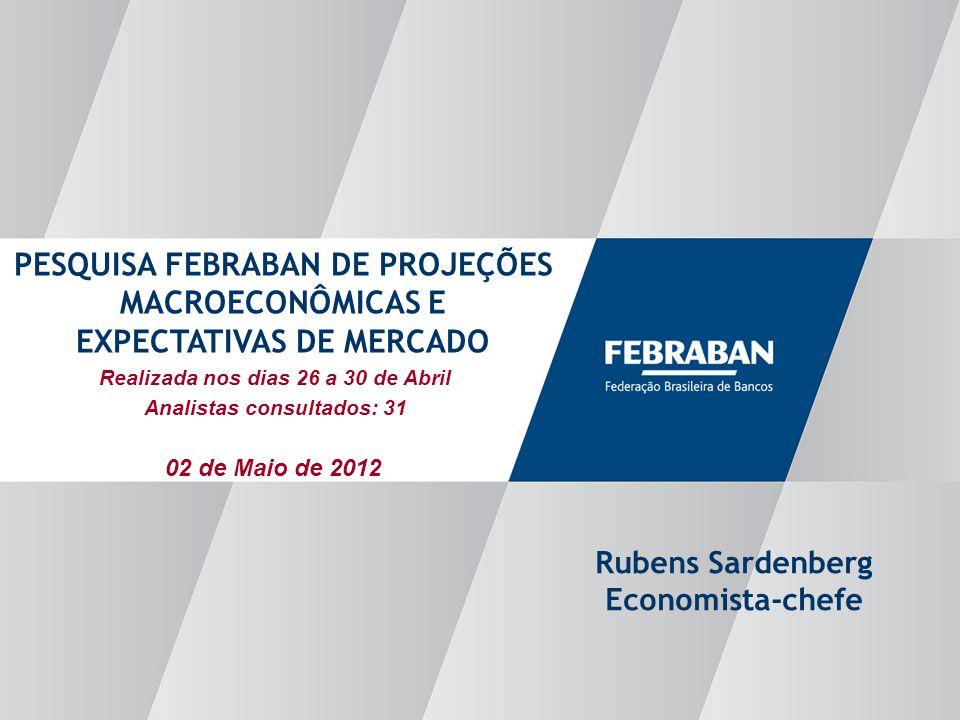 Apresentação ao Senado Realizada nos dias 26 a 30 de Abril Analistas consultados: 31 PESQUISA FEBRABAN DE PROJEÇÕES MACROECONÔMICAS E EXPECTATIVAS DE MERCADO Rubens Sardenberg Economista-chefe 02 de Maio de 2012