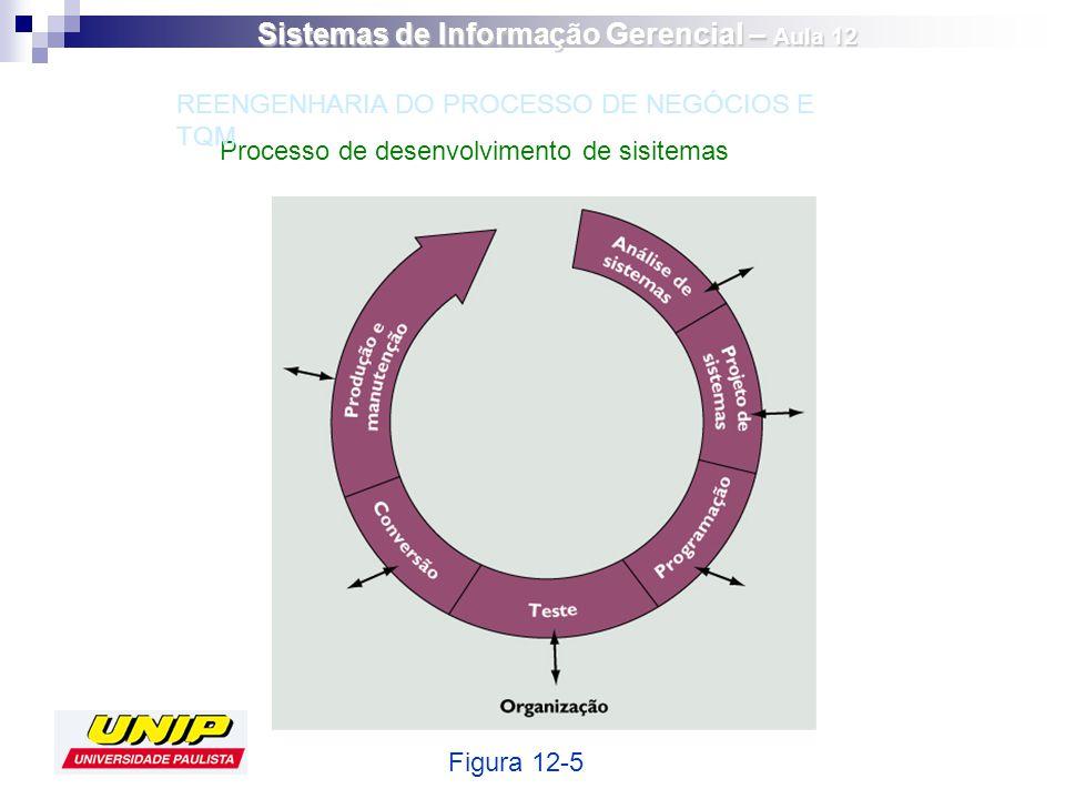 Processo de desenvolvimento de sisitemas Figura 12-5 REENGENHARIA DO PROCESSO DE NEGÓCIOS E TQM Sistemas de Informação Gerencial – Aula 12