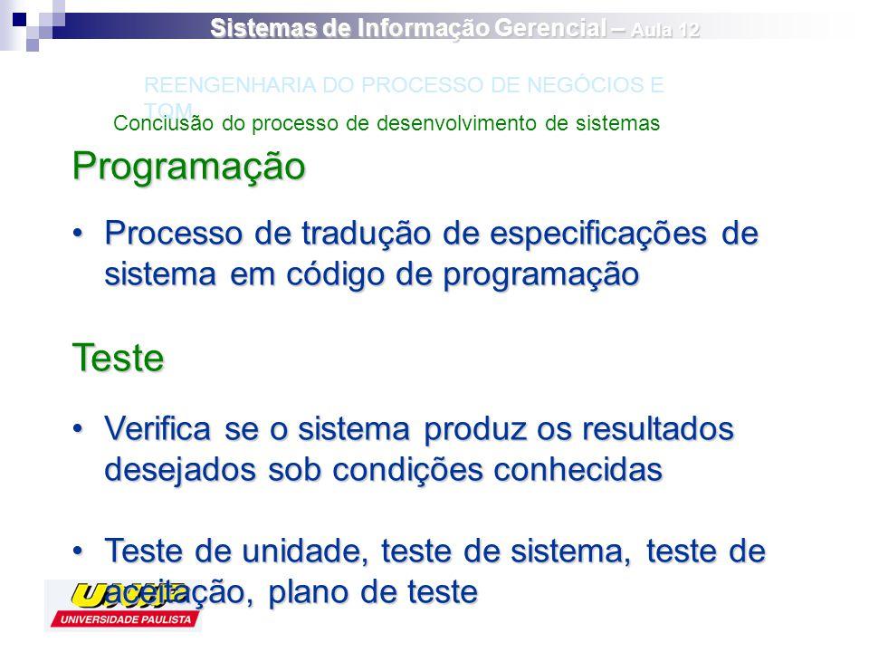 Programação Processo de tradução de especificações de sistema em código de programaçãoProcesso de tradução de especificações de sistema em código de p