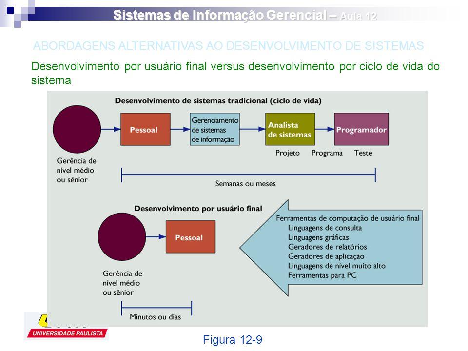 Desenvolvimento por usuário final versus desenvolvimento por ciclo de vida do sistema Figura 12-9 ABORDAGENS ALTERNATIVAS AO DESENVOLVIMENTO DE SISTEM