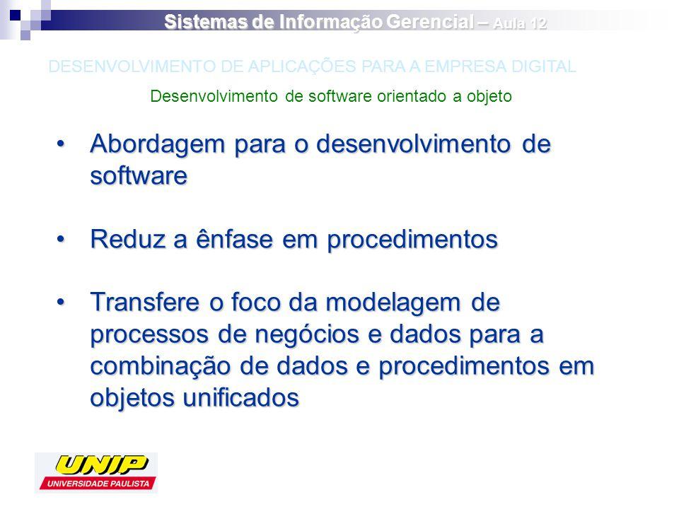 Abordagem para o desenvolvimento de softwareAbordagem para o desenvolvimento de software Reduz a ênfase em procedimentosReduz a ênfase em procedimento