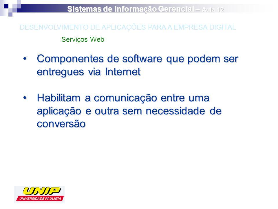 Componentes de software que podem ser entregues via InternetComponentes de software que podem ser entregues via Internet Habilitam a comunicação entre