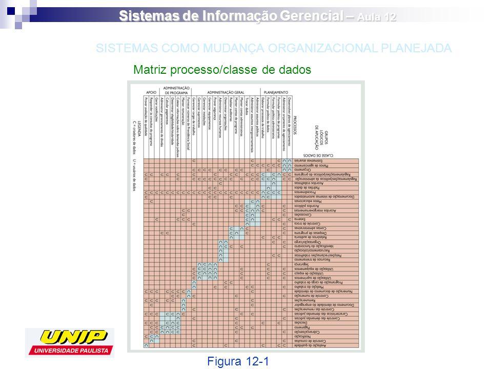 Matriz processo/classe de dados Figura 12-1 SISTEMAS COMO MUDANÇA ORGANIZACIONAL PLANEJADA Sistemas de Informação Gerencial – Aula 12
