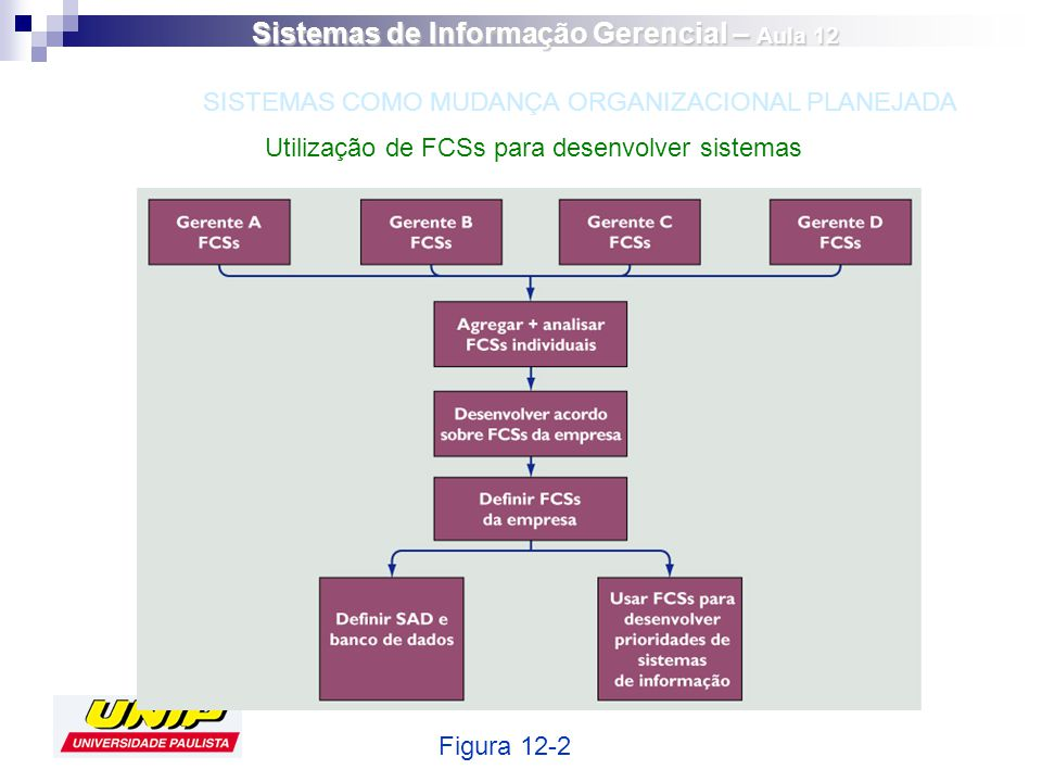 Utilização de FCSs para desenvolver sistemas Figura 12-2 SISTEMAS COMO MUDANÇA ORGANIZACIONAL PLANEJADA Sistemas de Informação Gerencial – Aula 12