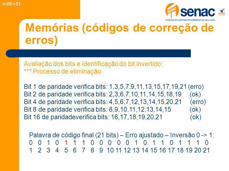 Memórias (códigos de correção de erros) rr-09-r.01 Palavra de código final (21 bits) – Erro ajustado – Inversão 0 -> 1: 0 0 1 0 1 1 1 0 0 0 0 0 1 0 1 1 0 1 1 1 0 1 2 3 4 5 6 7 8 9 10 11 12 13 14 15 16 17 18 19 20 21 Avaliação dos bits e identificação do bit invertido: *** Processo de eliminação Bit 1 de paridade verifica bits: 1,3,5,7,9,11,13,15,17,19,21 (erro) Bit 2 de paridade verifica bits: 2,3,6,7,10,11,14,15,18,19 (ok) Bit 4 de paridade verifica bits: 4,5,6,7,12,13,14,15,20,21 (erro) Bit 8 de paridade verifica bits: 8,9,10,11,12,13,14,15 (ok) Bit 16 de paridadeverifica bits: 16,17,18,19,20,21 (ok)