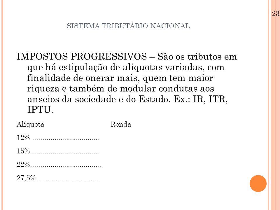 SISTEMA TRIBUTÁRIO NACIONAL IMPOSTOS PROGRESSIVOS – São os tributos em que há estipulação de alíquotas variadas, com finalidade de onerar mais, quem t
