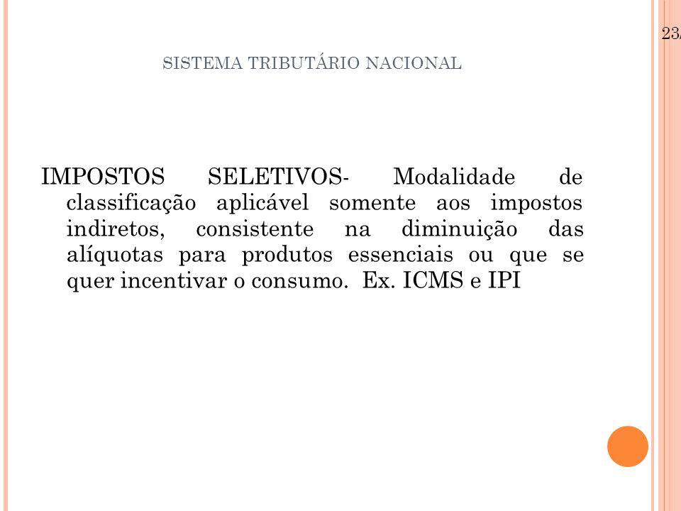 SISTEMA TRIBUTÁRIO NACIONAL IMPOSTOS SELETIVOS- Modalidade de classificação aplicável somente aos impostos indiretos, consistente na diminuição das al