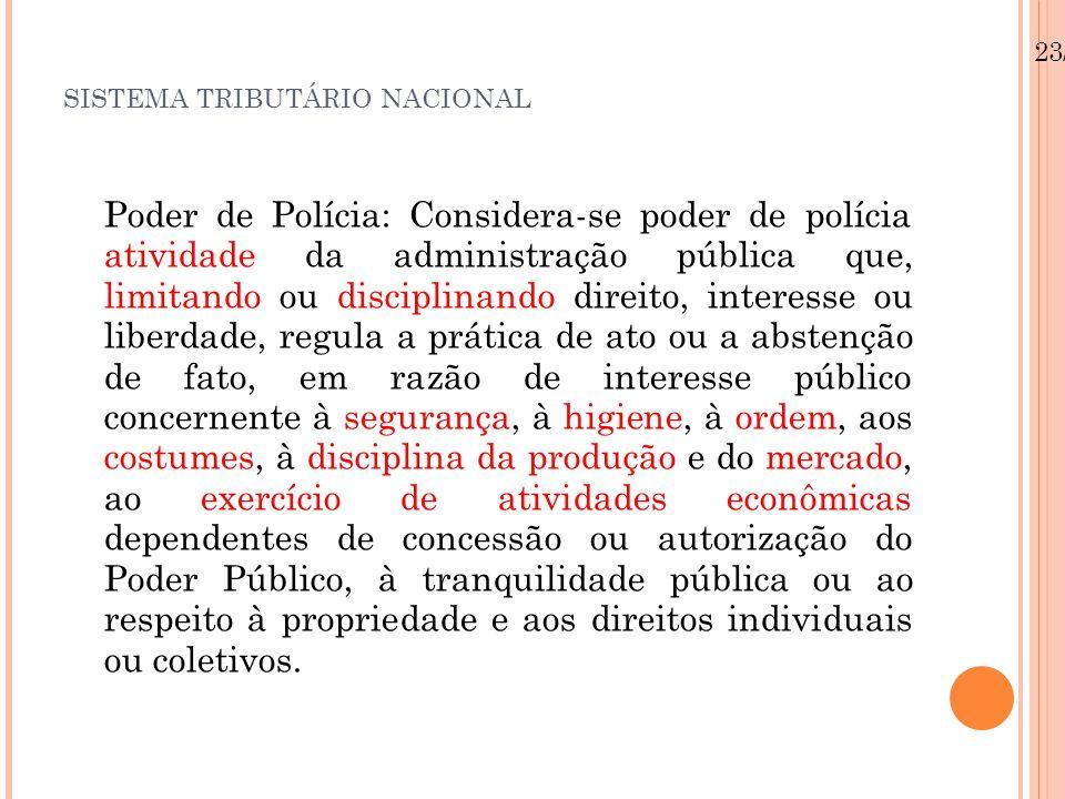 SISTEMA TRIBUTÁRIO NACIONAL Poder de Polícia: Considera-se poder de polícia atividade da administração pública que, limitando ou disciplinando direito