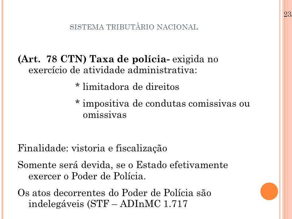 SISTEMA TRIBUTÁRIO NACIONAL (Art. 78 CTN) Taxa de polícia- exigida no exercício de atividade administrativa: * limitadora de direitos * impositiva de