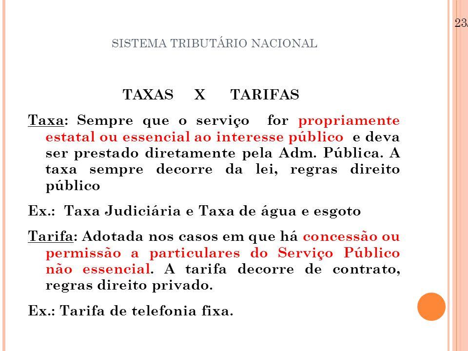 SISTEMA TRIBUTÁRIO NACIONAL TAXAS X TARIFAS Taxa: Sempre que o serviço for propriamente estatal ou essencial ao interesse público e deva ser prestado
