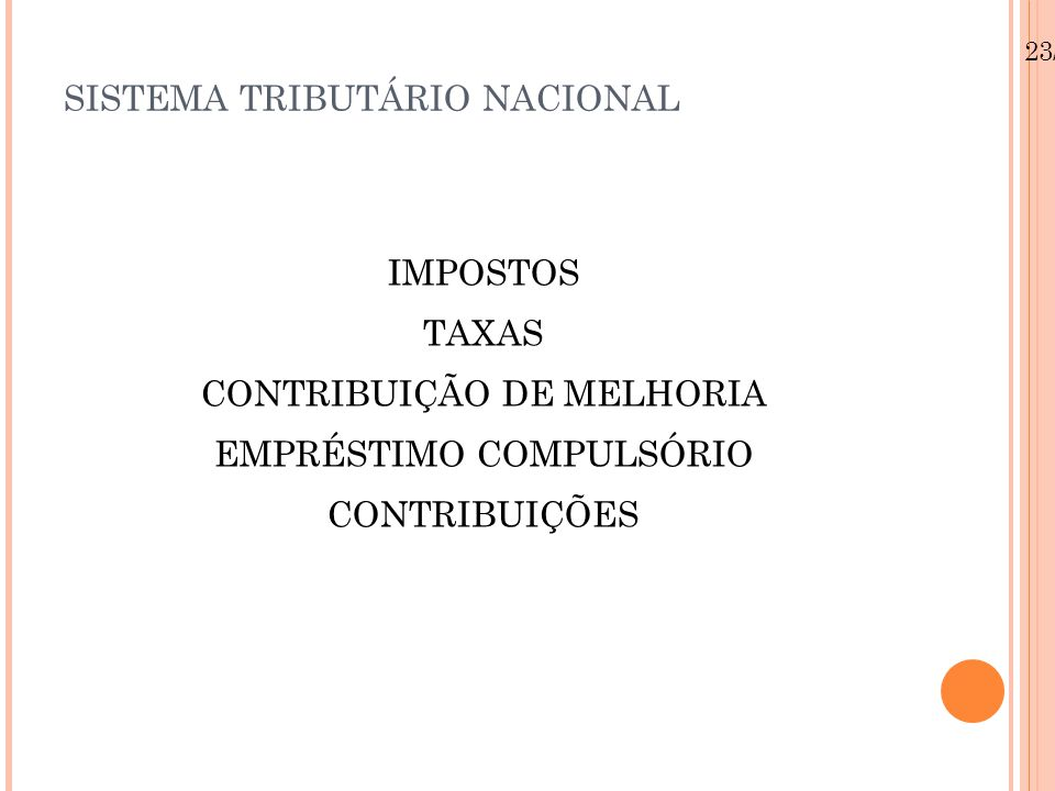SISTEMA TRIBUTÁRIO NACIONAL Contribuições de interesse de categorias profissionais ou econômicas Para a OAB, CRC, CREA, CRM Para o sindicatos (art.