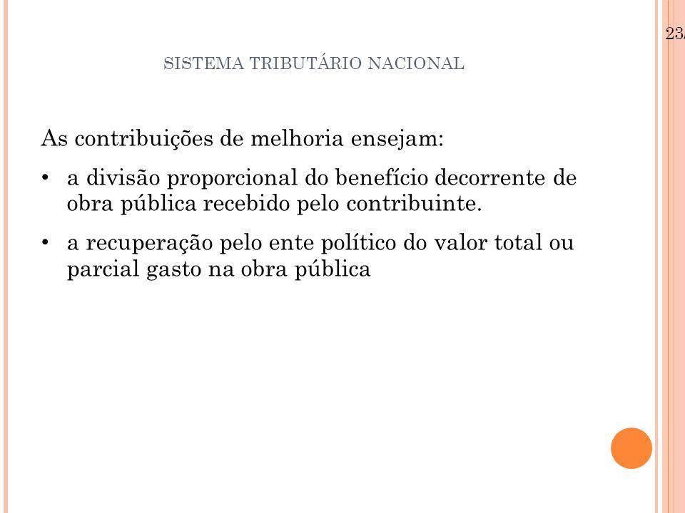 SISTEMA TRIBUTÁRIO NACIONAL As contribuições de melhoria ensejam: a divisão proporcional do benefício decorrente de obra pública recebido pelo contrib